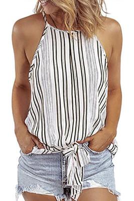 Stripe Tie Front Slip Tank Top
