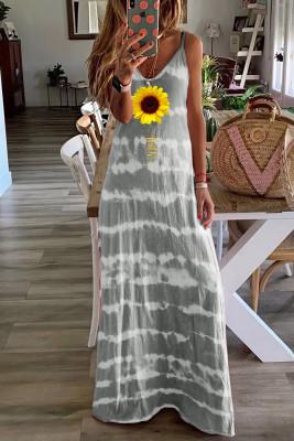Tie Dyed Print Loose Sling Dress
