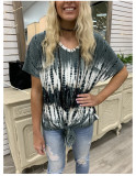 Tie-dye Print V-nek Short Sleeve Top with Front Tie