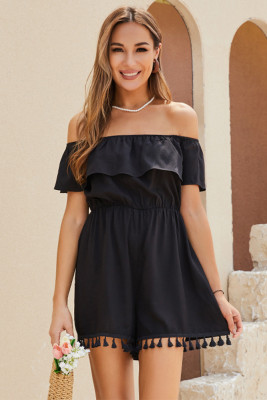Black Ruffle Off Shoulder Romper with Tassels