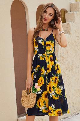 Sunflower Print Button V-neck Slip Dress