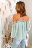 Polka Dot  Lace Splicing Off Shoulder Top