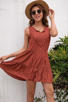 Loose Sleeveless Ruffle Short Dress