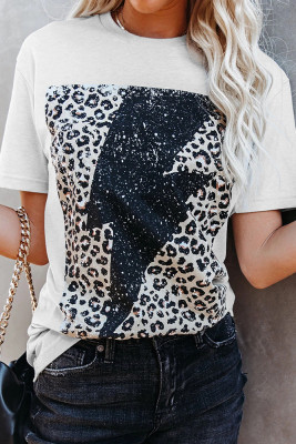 Leopard Lightning Print Graphic Tees for Women UNISHE Wholesale Short Sleeve T shirts Top