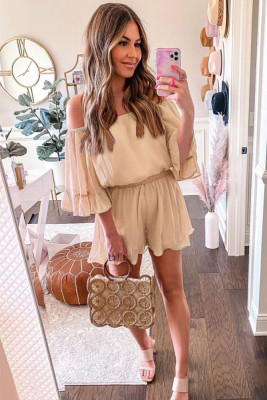 Off Shoulder Chiffon Jumpsuit With Ruffles