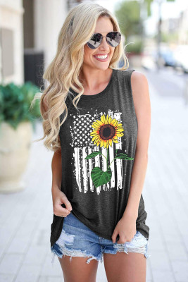 Sunflower Pattern Sleeveless Tank Top