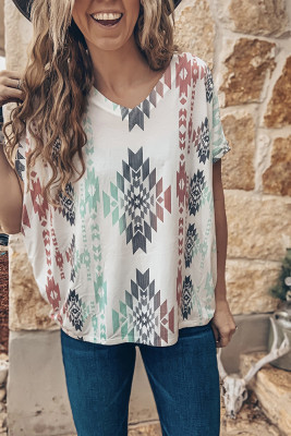 Aztec Printed V Neck Top
