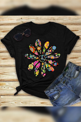 Sunflower Pattern Short Sleeve O-Neck Top