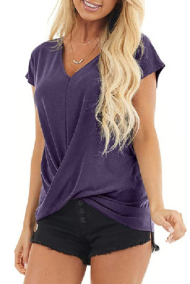 Twist Front V-Neck Short Sleeve Top