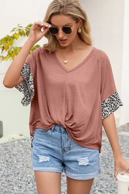 Leopard Splicing Twist Front V-neck Tee