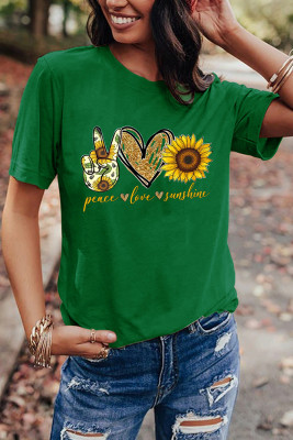 Green Sunflower Printed Graphic Tee