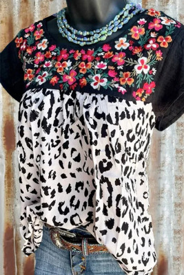 Floral Print O-Neck Short Sleeve Top
