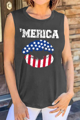 America Print Sleeveless Tank Top