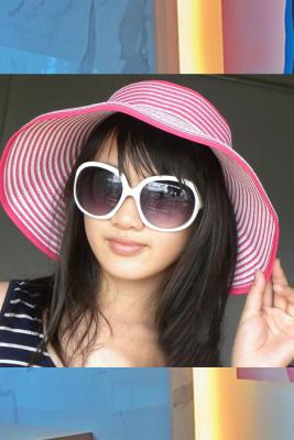 Striped Two-Tone Foldable Sun Hat