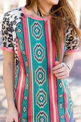 Aztec Print Leopard Sleeve Top