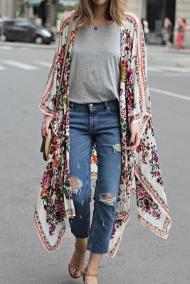 Floral Print Kimono Beach Dress