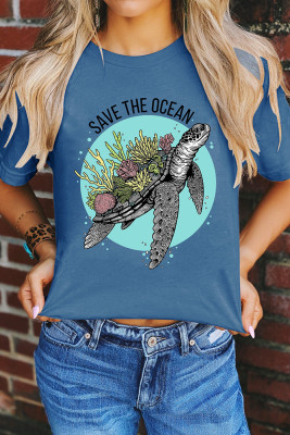 Save The Ocean Print Graphic Tee