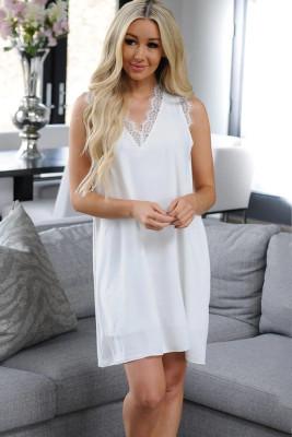 White Lace V-Neck Sexy Sleeveless Dress