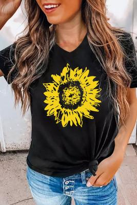 Sunflower Print V-Neck Graphic Tee