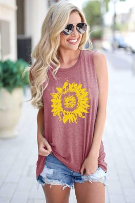 Sunflower O-Neck Sleeveless Tank Top