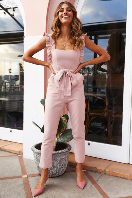 Solid With Belt Sleeveless Jumpsuit