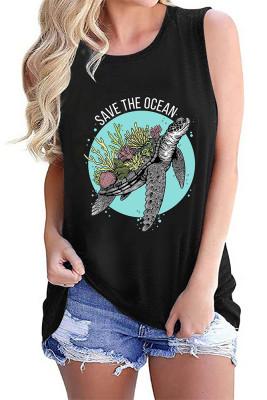 Save The Ocean Print Sleeveless Tank Top