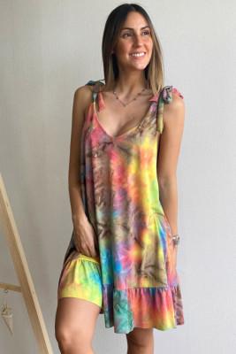 Tie-dye Ruffle Hem V-neck Tie Shoulder Strap Dress