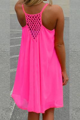 Mesh Panelling Backless Chiffon Dress
