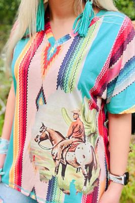 Aztec Print  V-neck Short Sleeve T-shirt
