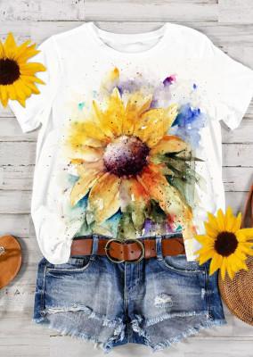 Sunflower Print O-Neck Short Sleeve Top