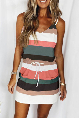 Colorful Stripe Drawstring Slip Dress with Pockets