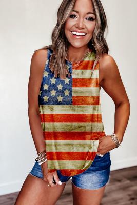 Sunflower & American Flag Print SleevelessTank Top