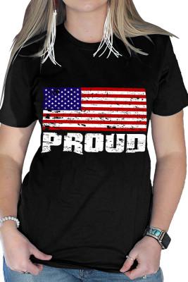 USA Flag Pattern Graphic Tee