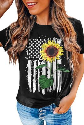 Sunflower USA Flag Print  Graphic Tee