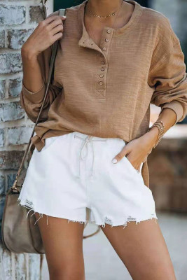Solid Color Drawstring Ripped Denim Shorts