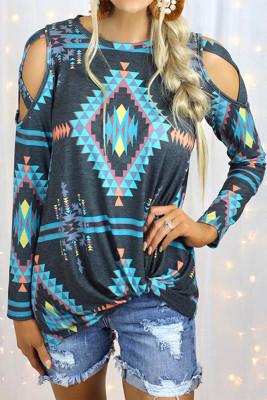 Aztec Print  Hollow-out Shoulder Long Sleeve Top