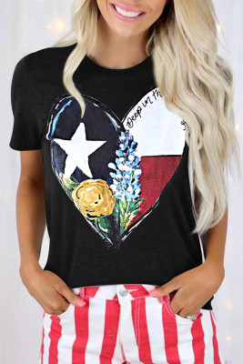 Floral Pattern And Heart Printed Graphic Tee