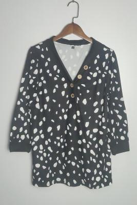 Casual Fashion Printed Deep V-neck Button Three Quarter Sleeve