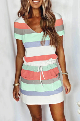 Stripe Drawstring V-neck Short Sleeve Dress with Pockets