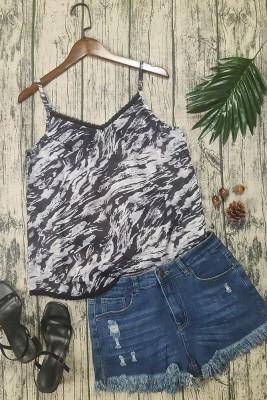Black Print Lace Splicing Slip Tank Top
