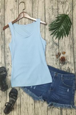 Light Blue Knit Tank Top