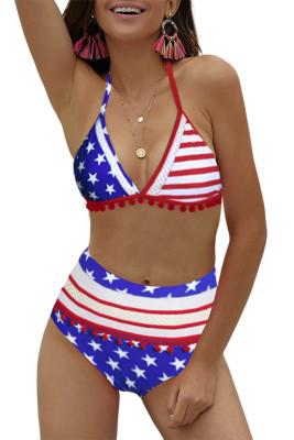 Pom Pom Decoration High Waist Bikini Set