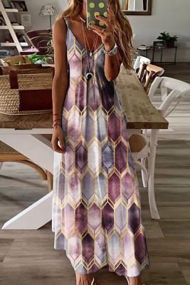 V-neck Printed Slip Dress