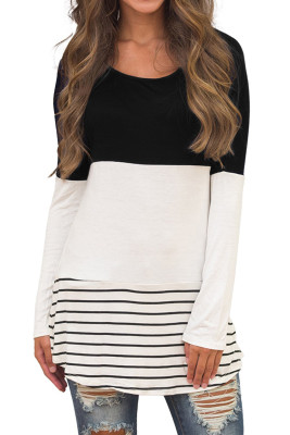 Black Stripe Top with Back Lace