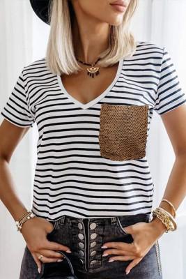 Stripe Pocket Sequins V-neck Short Sleeve Top