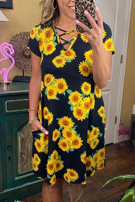 Sunflower Print Criss-cross V-neck Midi Dress