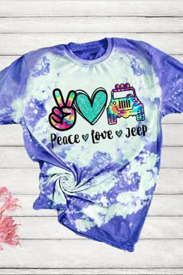 Bleached Colorful Print O-neck Short Sleeve T-Shirt
