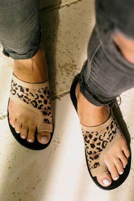 Leopard Open-toe Knit Flat Slippers