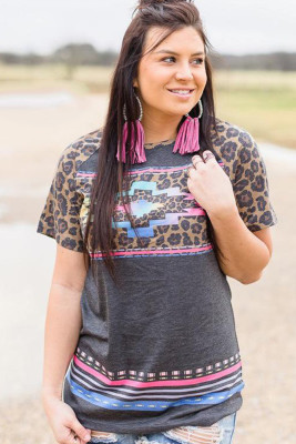 Aztec Leopard Print Short Sleeve Top