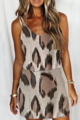 Unishe Wholesale Leopard Print V-neck Slip Mini Dress